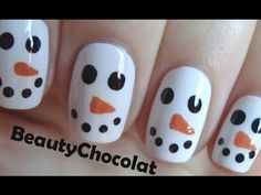 Quick and Easy Christmas Snowman Nail Art - Christmas Nails