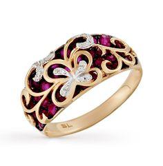 Золотое кольцо с бриллиантами, рубинами и сапфирами