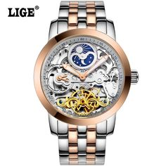 LIGE Mens High Quality Tourbillon Automatic mechanical Watches Men Top Brand Luxury Dive 50M Business full steel watch Man Clcok Who like it ?  #shop #beauty #Woman's fashion #Products #Watch