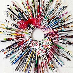 Magazine pages recyled to create a wreath
