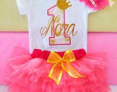 Colorful 1st Birthday tutu set First Birthday por KidsFunLand