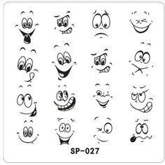 New Arrives cartoon design nail art image plate Equipment Stamp Stamping Plates ManicureTemplate Cartoon Eyes, Cartoon Drawings, Art Drawings For Kids, Easy Drawings, Nail Art Designs, Cartoon Faces Expressions, Nagel Stamping, Chibi, Kids Activity Books