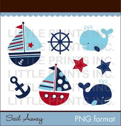 Sail Away Nautical Clip Art for Personal by LittlePrintsParties, $5.00