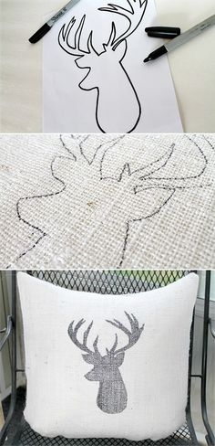 DIY Deer Head Burlap Pillow tutorial, would do this with a different animal or maybe a silhouette of each kid on separate pillows Burlap Projects, Burlap Crafts, Craft Projects, Sewing Projects, Holiday Crafts, Fun Crafts, Christmas Crafts, Arts And Crafts, Christmas Pillow