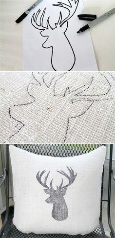 @jenn_t_e DIY Deer Head Burlap Pillow tutorial