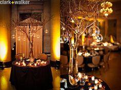 wedding centerpiece, branch, twig, hanging, tea light, globes