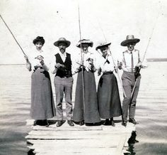 Ca. 1910 photo of women about to take a fishing excursion.