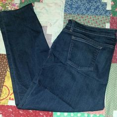 """Eileen Fisher Jeans Size 18P Straight Leg 40x25 Here's a nicely  broken in pair of Eileen Fisher jeans in size 18 petite.  They measure 40"""" at waist, 25"""" at inseam, 35"""" total length and 10.5"""" rise.  Slight whiskering at front pockets and backs of knees.  No holes or stains...just perfectly broken in. 84% cotton, 14% polyester & 2% spandex. Very stretchy. Eileen Fisher Jeans Straight Leg"""