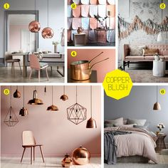 The Style Index : Blushing Beauty: Dulux Colour of 2015 with Copper Highlights – Hazir Site Blush Bedroom, Blush Grey Copper Bedroom, Room Inspiration, Interior Inspiration, Copper Blush, Hallway Colours, Kitchen Wall Colors, Palette, My New Room