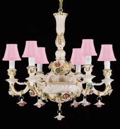 Authentic Capodimonte Porcelain Chandelier Lighting Chandeliers Lighting Crystal Made In Italy, Good For Dining Room, Kids & Girls Bedrooms 24K Gold Trimmed W/ Roses & Flowers With Pink Shades!. This Beautiful Chandelier Is Trimmed With CrystalAuthentic Capodimonte Porcelain Chandelier Made In Italy! Capodimonte Is A Smiling Hill Of Naples Where Charles Iii, King Of The Two Sicilies, Desired To Add To His Luxurious Royal Palace The Building Of The Real Factory Of Porcelain In 1793. The Art…