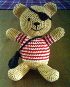 captain cute the pirate teddy pattern