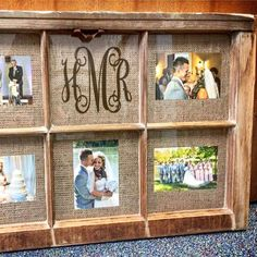 Cute idea for an old window frame! Turn it into a wedding photo collage. Love … Cute idea for an old window frame! Turn it into a wedding photo collage. Love the burlap background too – gives it a warm rustic farmhouse look to it! Window Frame Crafts, Window Photo Frame, Window Frame Decor, Old Window Projects, Wooden Window Frames, Old Window Ideas, Window Pane Pictures, Burlap Picture Frames, Rustic Window Frame