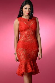 Red Romance Lace Midi Dress