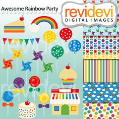 Awesome Rainbow Party - clipart and coordinating papers.  Great for any craft or creative project.