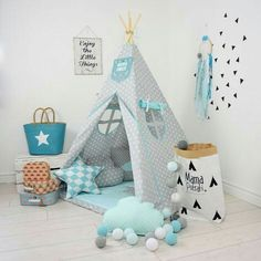 Children's Room Decor – Teepee Set Kids Play Tent Tipi -Imaginary Friend – a unique product by MamaPotrafi on DaWanda Kids Play Teepee, Childrens Teepee, Child Teepee, Play Tents, Kids Wigwam, Baby Bedroom, Baby Boy Rooms, Girls Bedroom, Nursery Boy