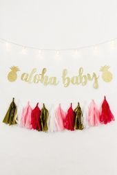 Tropical Baby Shower Banner, Aloha Baby, Pineapple Baby Shower Decor, Hawaiian Luau Gender Neutral S - - Baby Boys, Baby Pineapple, Banner, Hawaiian Luau, Time To Celebrate, Baby Time, Baby Shower Decorations, Color Pop, Balloons