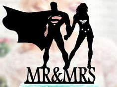 Superman and Wonder woman Silhouette, Mr and Mrs Wedding Cake Topper, Bride and Groom Wedding Cake Topper, Cake Toppers superheroes