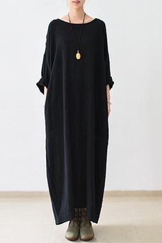 2016 fall thin black linen dresses long sleeve linen caftans gown - - 2016 fall thin black linen dresses long sleeve linen caftans gown Long Sleeve Dress Model DESCRIPTION SHIPPING Size Guide Color All items will be care. Hijab Fashion, Boho Fashion, Cheap Fashion, Gothic Fashion, Fashion Women, Punk Fashion, Lolita Fashion, Affordable Fashion, Fashion 2017