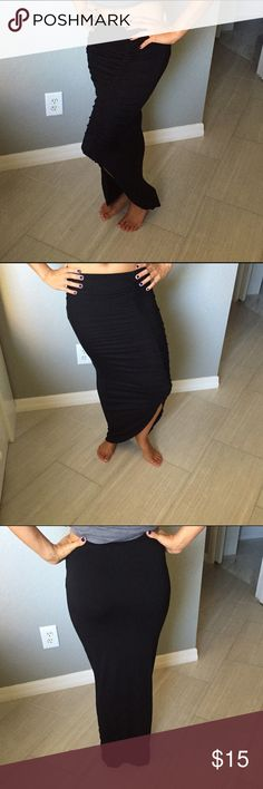 Sexy Ruched Maxi Skirt Ruched maxi skirt with knee height slit • Can be worn shorter as well and still looks cute • Black • Great used condition • Soft material • Small Mossimo Supply Co Skirts Maxi