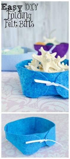 DIY No Sew Folded Felt Basket Tutorial and Pattern from The Artisan Life. There is a downloadable PDF...
