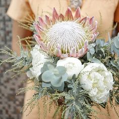 Such a unique and beautiful bouquet: White Room Events - Photography: Jennifer Sando - Flowers: Lotus Flowers Protea Wedding, Floral Wedding, Wedding Bouquets, Wedding Flowers, Floral Bouquets, Love Flowers, Beautiful Flowers, Flor Protea, Protea Bouquet