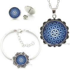 Vintage Blue Mandala Sacred Geometry Art Statement Necklace Earrings Bracelet Set
