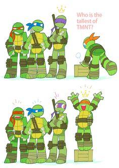 TMNT awwww cute of course Mikey would do that Tmnt Comics, Tmnt 2012, Teenage Mutant Ninja Turtles, Turtle Tots, Ninja Turtles Art, Animation, Childhood, Cinema, Funny