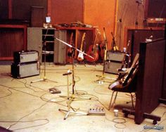 """Olympic Studios Guitar setup  This was the recording setup for the guitars during the """"Slowhand"""" sessions. The picture was taken just after George and Eric finished """"Cocaine"""".......... the song."""