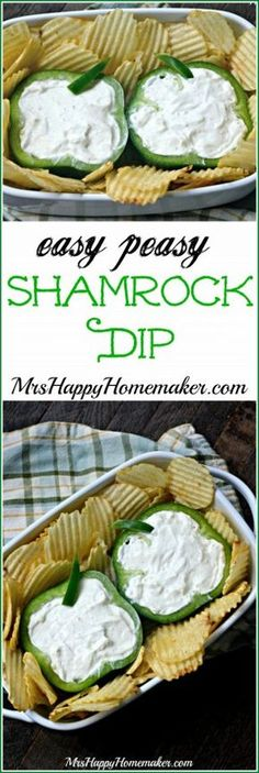 Easy Peasy Shamrock Dip - perfect for Saint Patrick's Day! patricks day treats for work simple Easy Shamrock Dip - Mrs Happy Homemaker Irish Appetizers, St Patrick's Day Appetizers, Appetizer Recipes, Irish Coffee, Corned Beef, St Patrick Day Snacks, St Patricks Day Food, Saint Patricks, St Patricks Day Deserts