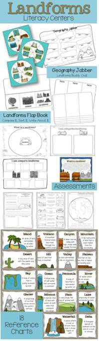Continents, Oceans and Landforms:  Integrate writing and science through a culminating landform building and writing project. Unit includes a 2-week lesson plan, practice activities, assessments, graphic organizers, 18 landforms charts, and cross-curricular literacy centers.$