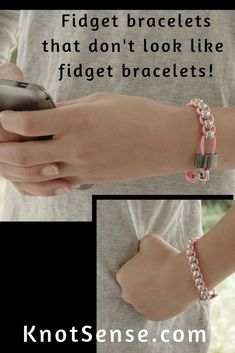 Beautiful sensory fidget bracelets for people with autism ADHD anxiety or sensory processing disorder! Great anxiety jewelry to help you through the day. Diy Fidget Toys, Diy Sensory Toys, Fidget Tools, Sensory Tools, Sensory Activities, Sensory Therapy, Play Therapy, Sensory Play, Autism Crafts
