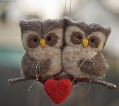 Needle Felted Owl Ornament Pair by scratchcraft on Etsy