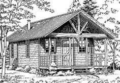 Backwoods Cabin Sets) Plan (Plans to purchase) . Specifications: 16 ' x 25 ' x 16 ' (width x depth x height); Small Cabin Plans, Log Cabin Plans, Log Cabins, Southern Living House Plans, Country House Plans, Moose Silhouette, Luxury House Plans, Small House Design, Cabins In The Woods