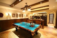 80 Man Cave Ideas that Will Blow Your Mind (Photos) : This man cave features a classy bar area with stylish wine cellar and a billiards pool set on the rug on top of the tiles flooring. up pool ideas Man Cave Designs, Bar Designs, Man Cave Basement, Man Cave Garage, Basement Bathroom, Garage Bar, Man Cave Diy, Man Cave Home Bar, Best Man Caves