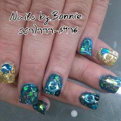 Nails Peacock Colors