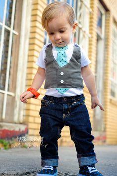 Newborn-24 Month Boys Aqua Tie Gray Corduroy Tie Vest Onesie