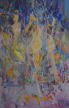 Blue nude painting by Yuri Pysar
