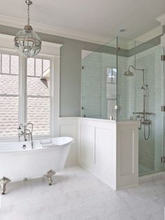 Window trim, wainscoting and marble like master  How To Create a Hamptons Style Bathroom