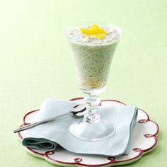Chia Orange Yogurt: adapted 1/3 cup green tea or juice, 1/3 cup whole yogurt, 1/4 cup oats, 2/3 cup fruit, 1.5 tsp. chia seeds, few drops vanilla