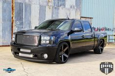 ometimes that low, slammed look is what you need – even if it doesn't exactly mean improved functionality. This #GMC Sierra with #DUB rims is slammed, stanced, and stylin'. The large American truck was dropped considerably and fitted with new GMC Sierra wheels along with some other goodies. #Love the build?  REPIN! http://www.wheelhero.com/rims-and-tires