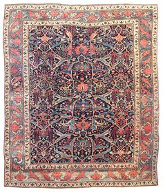 Antique Bijar Rugs Gallery: Antique Garous Bijar Rug, Hand-knotted in Persia; size: 11 feet 6 inch(es) x 13 feet 10 inch(es) Persian Carpet, Persian Rug, Egypt Design, Shaw Carpet, Pink Carpet, Magic Carpet, Tribal Rug, Blue Art, Carpet Runner
