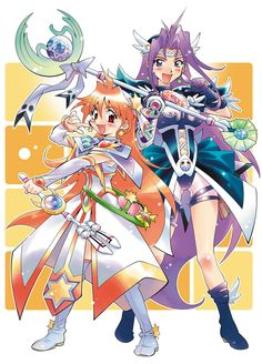 Slayers has the best/weirdest promotional artwork part Lina and Naga in mahou shoujo outfits - from Slayers Special All Animated Movies, Animated Cartoons, 90 Anime, Japanese Superheroes, Slayer Anime, Manga Games, Manga Comics, Character Design Inspiration, Anime Art Girl