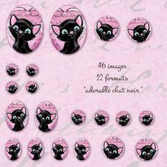 """images à imprimer pour cabochon """"adorable chat noir """" : Images digitales pour bijoux par patouille-et-gribouille"""