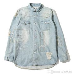 Wholesale cheap  online, style2 - Find best off white virgil abloh paint splattered denim shirt men women blue vintage retro distressed ripped long sleeve jeans shirts at discount prices from Chinese men's casual shirts supplier - xin10086 on DHgate.com.