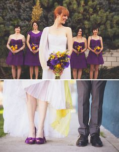 I like the top shot & how she's looking slightly back toward her bridesmaids. Cute.