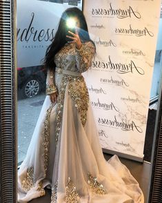engagement dress for bride arabic Fall Engagement Outfits, Engagement Dress For Bride, Engagement Party Dresses, Style Caftan, Caftan Dress, Hijab Dress, Morrocan Dress, Moroccan Caftan, Evening Dresses For Weddings