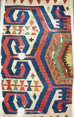 Turkey   Central Anatolian Kilim Fragment   18th C.
