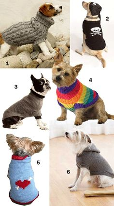 Find six free knitting patterns for dog sweaters. Knit something to keep your dog cozy in the cooler months. There's even a cable and an intarsia sweater.