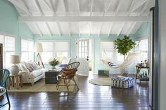 key west style simple white raster ceiling, elevated cross beams, beadboard in between, ?paint blue