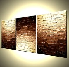 Original Bronze Metallic Textured PAINTING Abstract Gold Art By Lafferty - 12X27 - Three MINI Canvases by Laffertyart on Etsy https://www.etsy.com/listing/154466632/original-bronze-metallic-textured